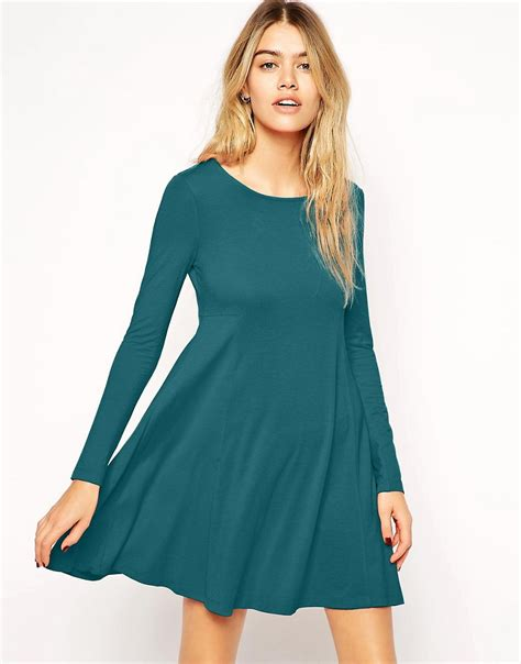 long swing dress image 1 of asos seamed swing dress with long sleeves