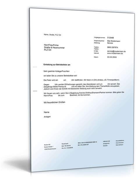 Muster Einladung Mitarbeiter Einladung Betriebsfeier Vorlage Zum