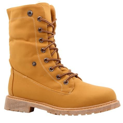 work boots for with flat womens flat lace up fur lined combat winter ankle