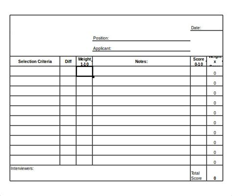 12 Sle Interview Score Sheets Sle Templates Score Sheet Template Excel