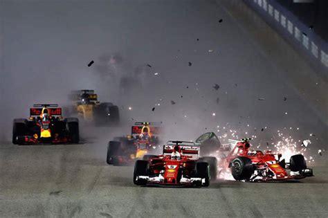 F1 Calendar 2017 C4 Formula 1 Crash Hamilton Wins Singapore Gp After Vettel