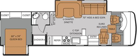 nexus rv floor plans 33 foot class a motorhomes with large u dinette booth