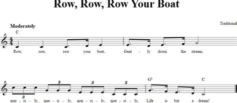 row row row your boat notes piano row row row your boat chords lyrics and sheet music