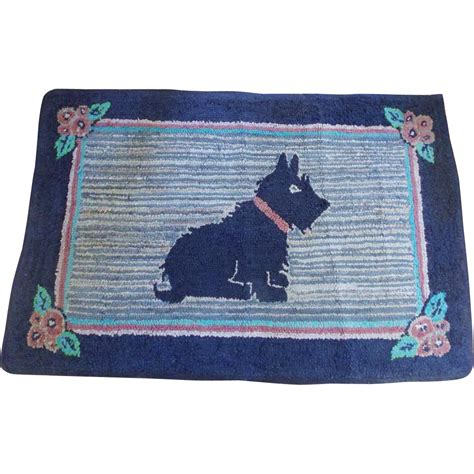 large vintage 1930 s 40 s hooked scotty rug from