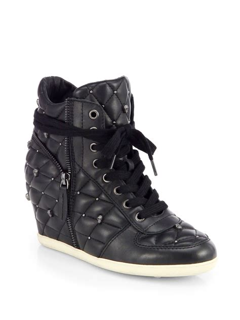 stud wedge sneakers ash studded leather wedge sneakers in black lyst
