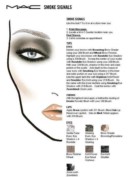 eyeshadow diagram smoke signals mac makeup diagram make up
