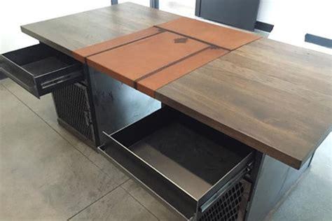 Modern Industrial Desk Modern Industrial Desk With Custom Leather Signature Pad The Industrial Farmhouse