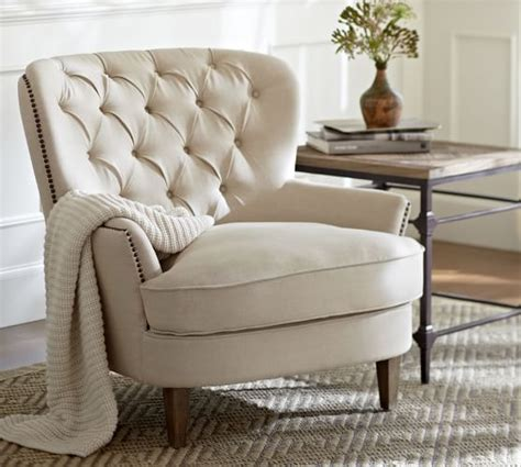 pottery barn armchair cardiff tufted upholstered armchair pottery barn