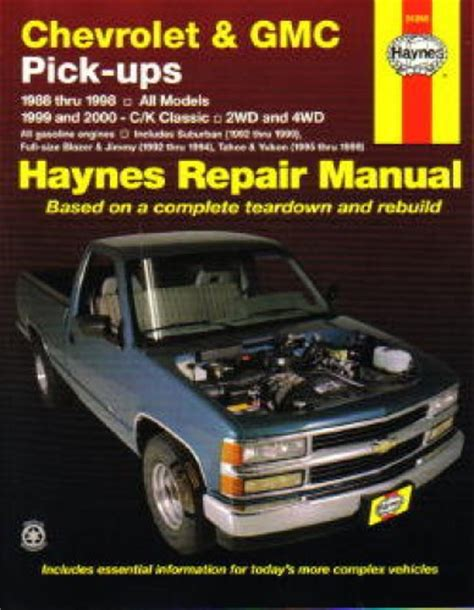 car repair manuals online pdf 1996 gmc jimmy parental controls haynes chevrolet gmc pickup trucks 1988 2000 auto repair manual