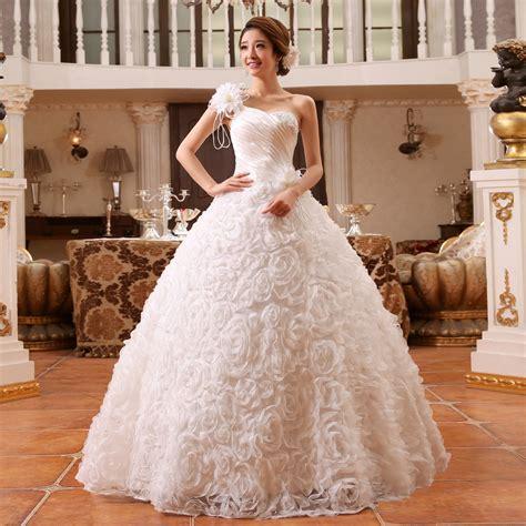 wedding dress and flower flowers wedding dress one shoulder wedding gowns shoulder white bridal gown slim princess