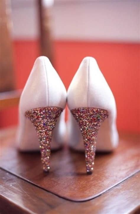 White And Gold Sparkly Wedding Shoes ? Glitter Bridal