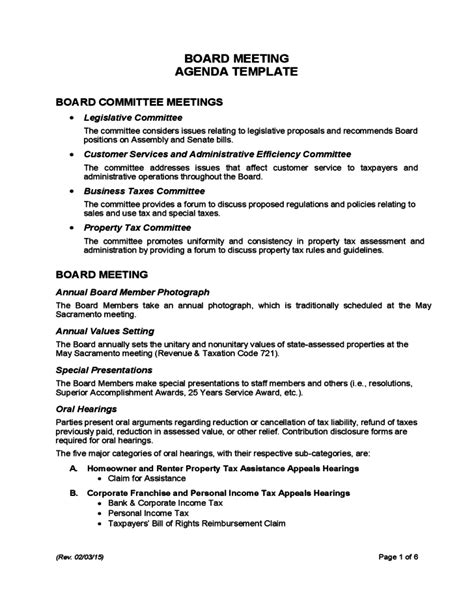 operations meeting template board meeting agenda template california free