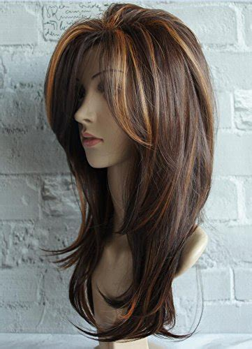 images of women of color with highlights in medium brown hair wigbuy natural wavy layered wigs shoulder length hair