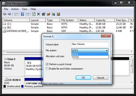 format hard drive computer management how to format a hard disk drive in windows 7