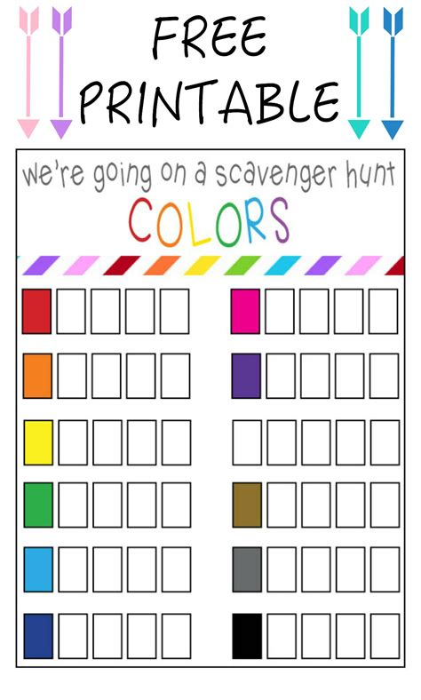 color hunt color scavenger hunt free printable our thrifty ideas