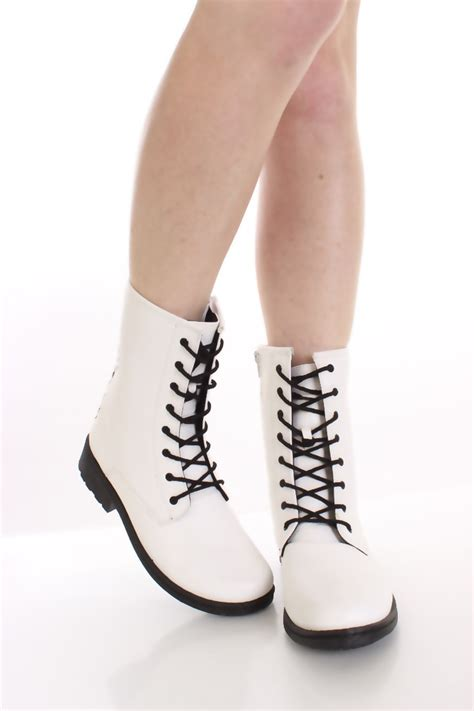 womans white boots white combat boots www imgkid the image kid