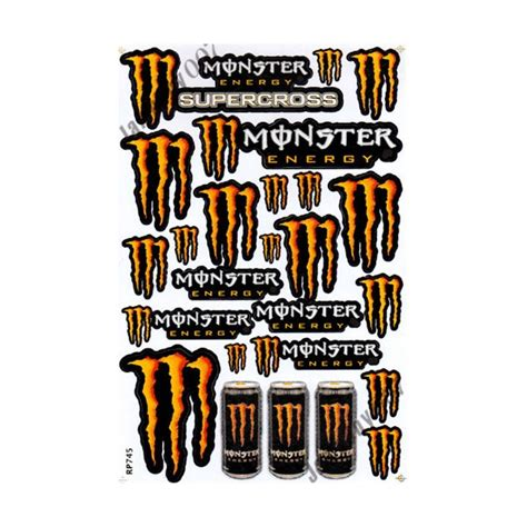 Monster Energy Aufkleber In Rot by Mrs0094 Gelb Rot M0nster Energy Aufkleber Stickers