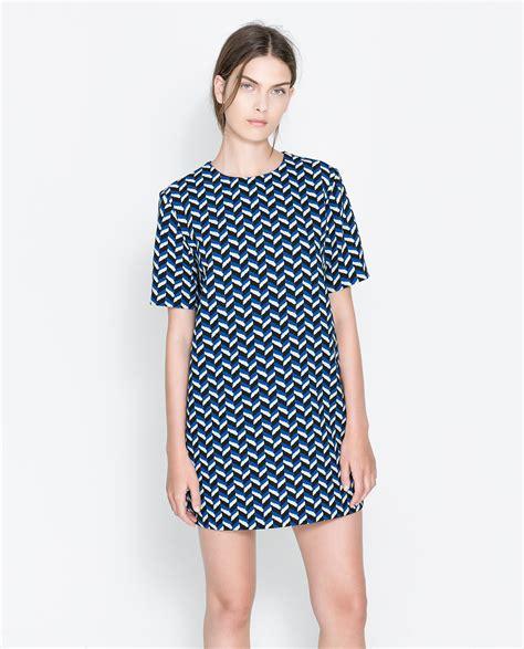 Dress Zara 7 zara retro printed dress in blue lyst
