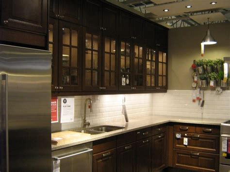 Wood And Glass Kitchen Cabinets | pictures of ikea kitchens dark wood glass door ikea