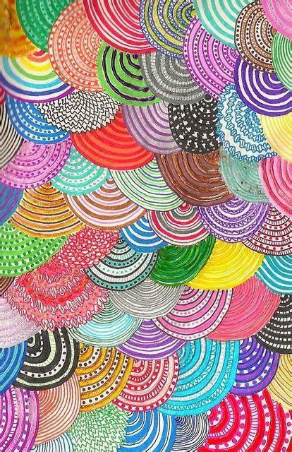 colorful spiral helix doddles  zentangles pattern