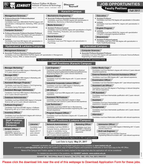 Szabist Mba Admission 2017 by Szabist 2017 May Application Form Teaching Faculty
