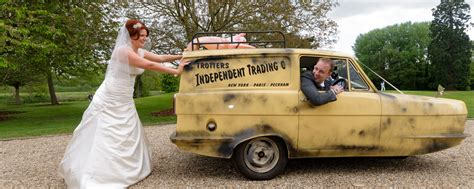 only fools and horses reliant robin wedding car at the buckinghamshire golf club copyright