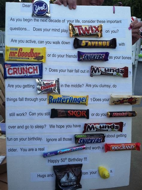 50th Birthday Candy Gram.   Birthday Party Ideas