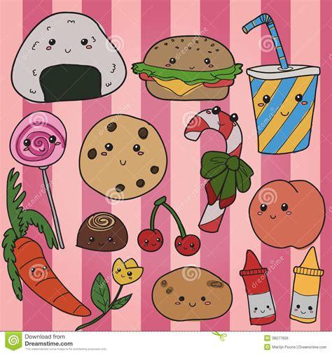 imagenes kawaii de comida chatarra mano de la comida de kawaii dibujada ilustraci 243 n del