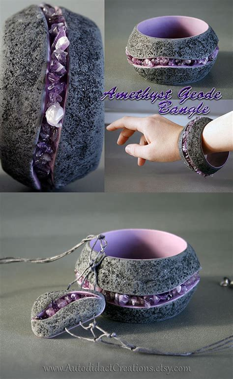 amethyst am 041 amethyst geode style bangle bracelet and pendant by wizardcopy