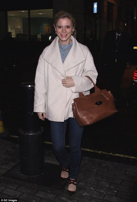 silent witness s emilia fox smiles widely in a chic blush