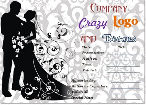 For Bride And Groom Gift Certificate Template Bridal Gift Certificate Template