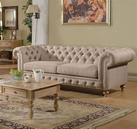 beige tufted sofa shantoria collection tufted beige linen finish sofa