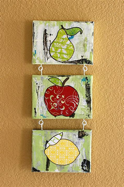 mixed media paper crafting fruit home decor