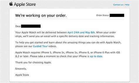 apple says working on apple watch preorders in email to