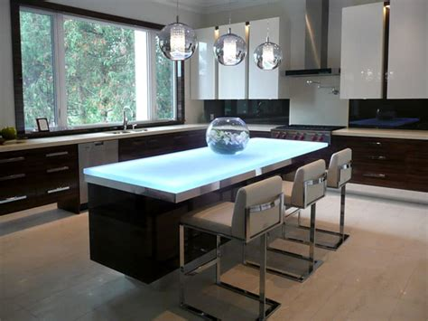 Kitchen Design Islands Glass Countertop Island With Led Lighting Designed By Cgd