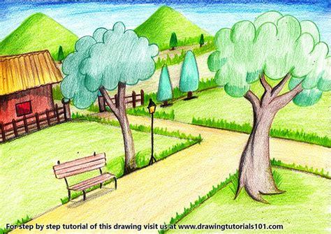 garden scenery colored pencils drawing garden scenery