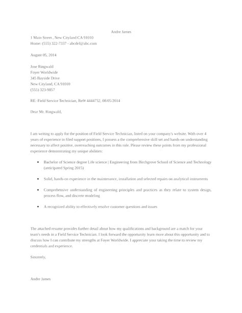 Basic Field Service Technician Cover Letter Samples and