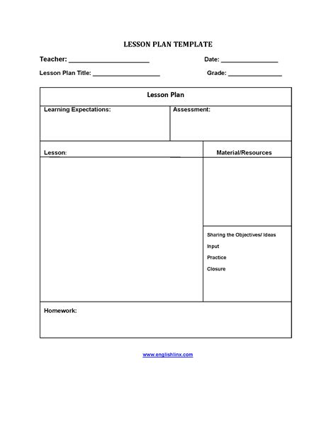 5 Step Lesson Plan Template lesson plan template five step lesson plan template