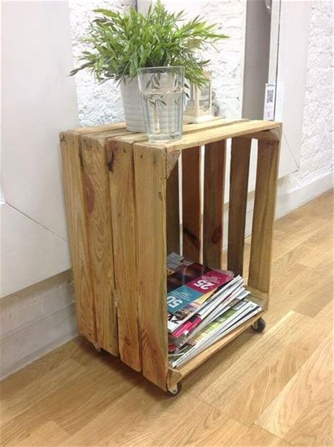 crate side table diy wood crate side table discover woodworking projects