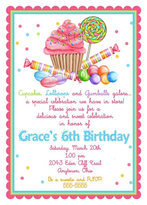sweet shop birthday invitations by littlebeaneboutique