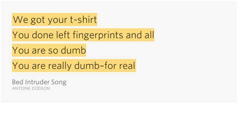 Bedroom Intruder Lyrics We Got Your T Shirt You Done Left Bed Intruder Song