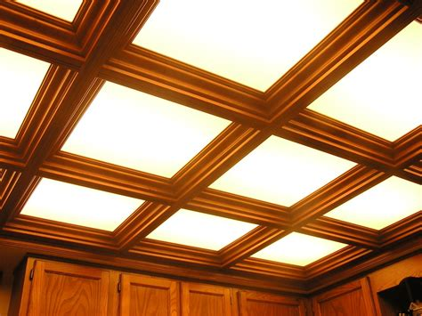 coffered ceiling with lighted acrylic panels woodgrid