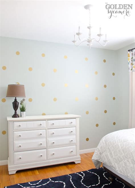 polka dot wall decals for rooms diy gold polka dot wall the golden sycamore