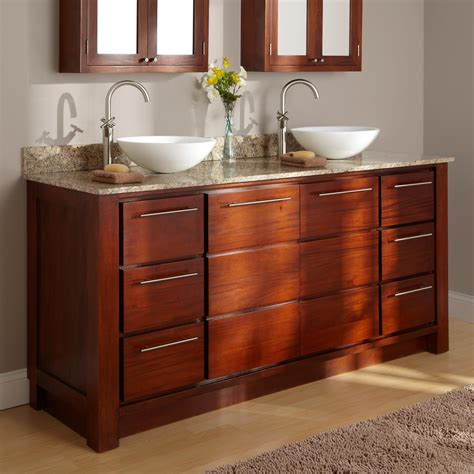 60 quot tobacco vanity with vessel sinks bathroom