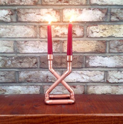 copper pipe art industrial art copper pipe candle holder centerpiece