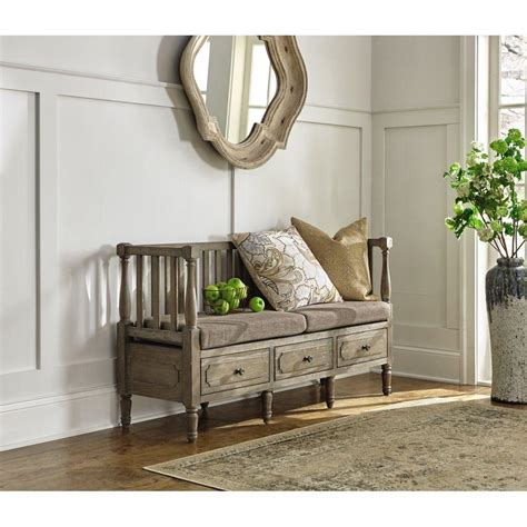 Home Decorators Bench by Home Decorators Collection Archer Washed Oak Storage Bench 9613900970 The Home Depot