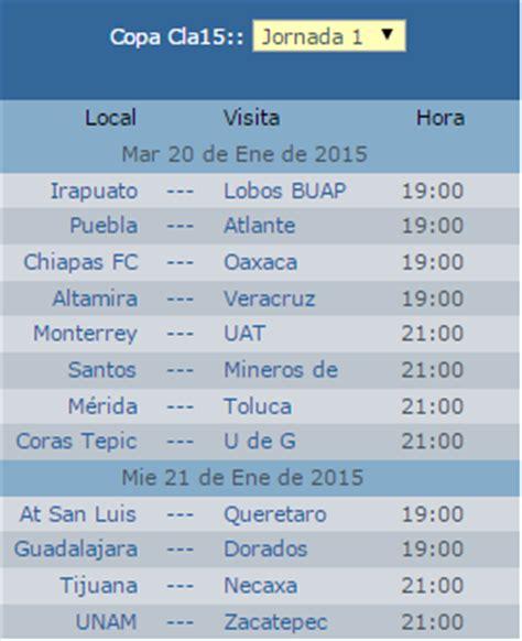 calendario y grupos de la copamx clausura 2015 apuntes