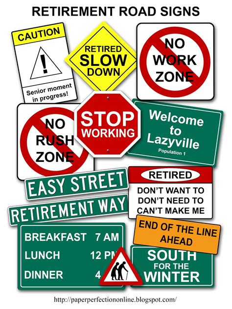 printable retirement road signs paper perfection retirement road signs