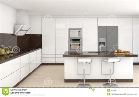 White And Brown Kitchen by Interior White And Brown Kitchen Stock Image Image 18227351