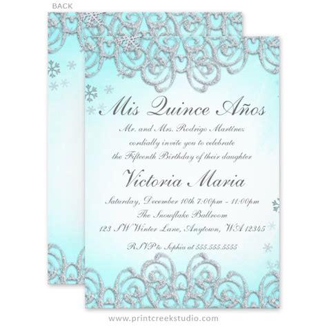 invitations for a quinceanera templates winter wonderland swirl snowflakes quinceanera invitations